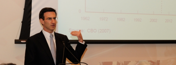 Dr. Peter Orszag, 37th Director of the Office of Management and Budget under President Barack Obama, speaks at the 2010 Joan H. Tisch Public Health Forum
