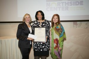 2016 Tisch Prize Winner Thelma Dye, PhD, with Laurie M. Tisch and Hunter College President Jennifer J. Raab.