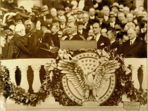 Franklin Delano Roosevelt taking the presidential oath of office, March 4, 1933.