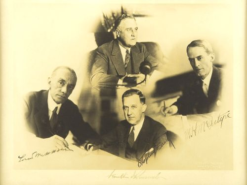 Franklin Delano Roosevelt with M.H. McIntyre, Stephen T. Early and Louis McHenry Howe c. 1933-1937:
