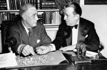 Roosevelt and Basil O'Connor counting dimes sent in to the White House for the March of Dimes, 1944.