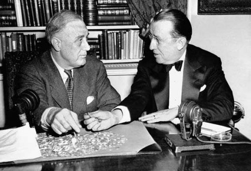 Roosevelt and Basil OConnor counting dimes sent in to the White House for the March of Dimes, 1944.